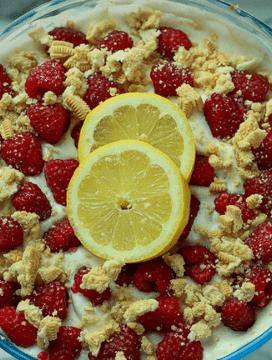 The BEST Vegan Raspberry Lemon Trifle