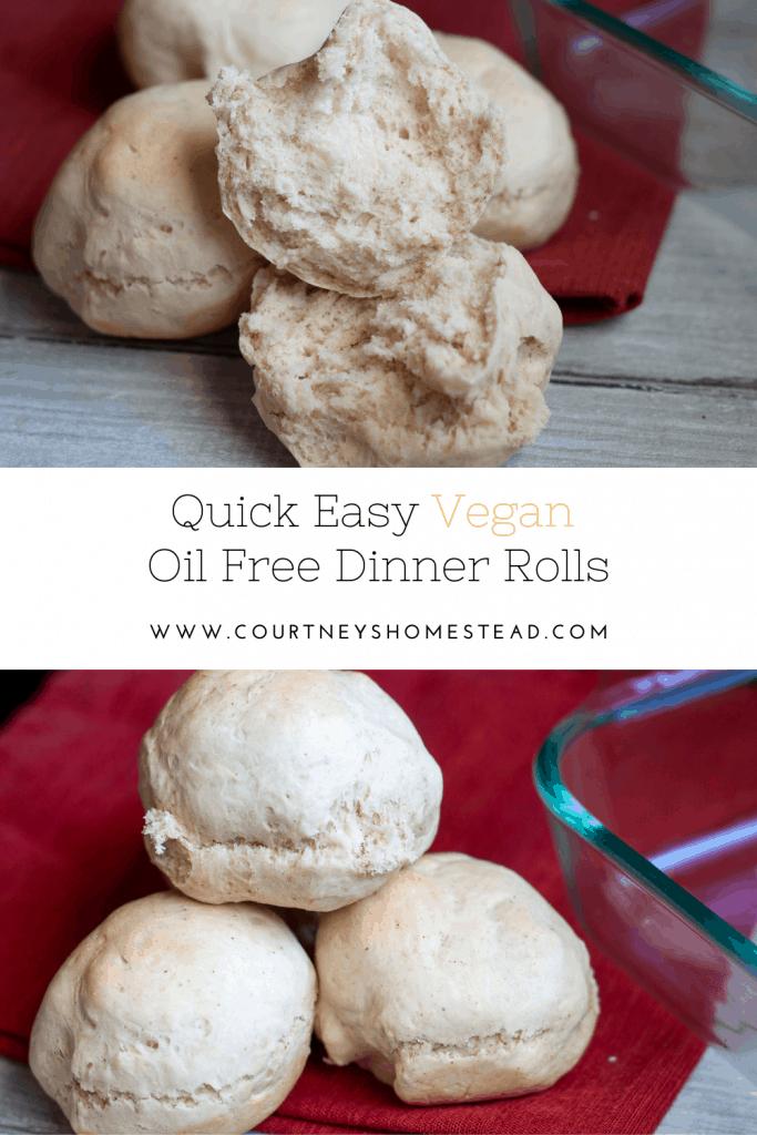 easy quick vegan oil free dinner rolls