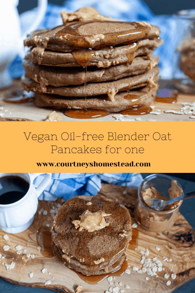 vegan oil free blender oat pancakes for one