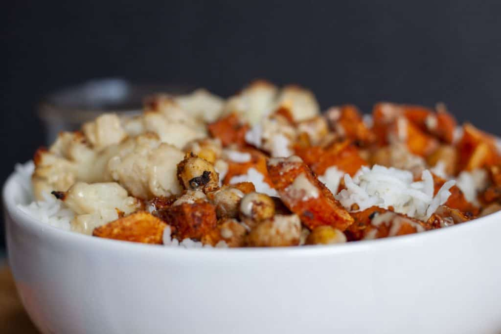 close up of the sweet potato bowl