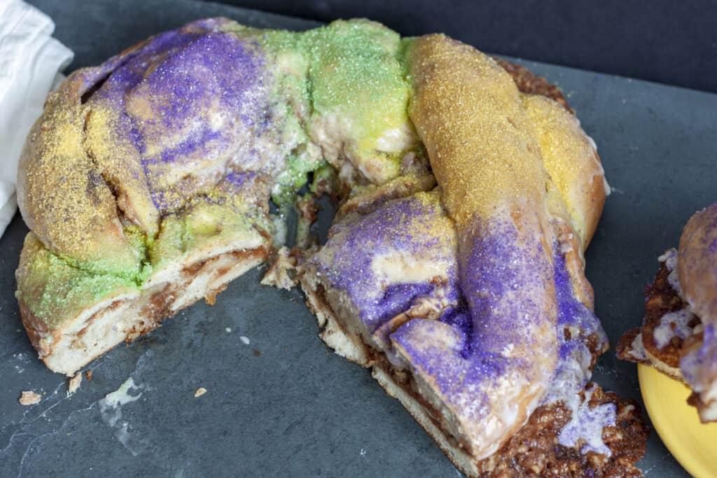 Sliced vegan kings cake