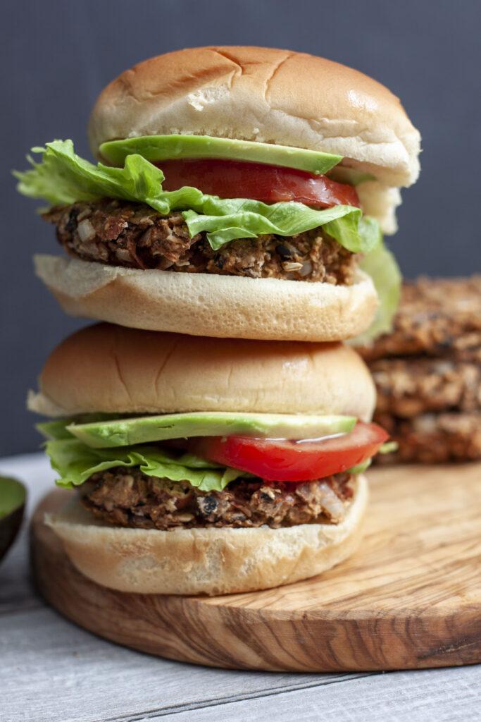Vegan Bean Burgers Stacked
