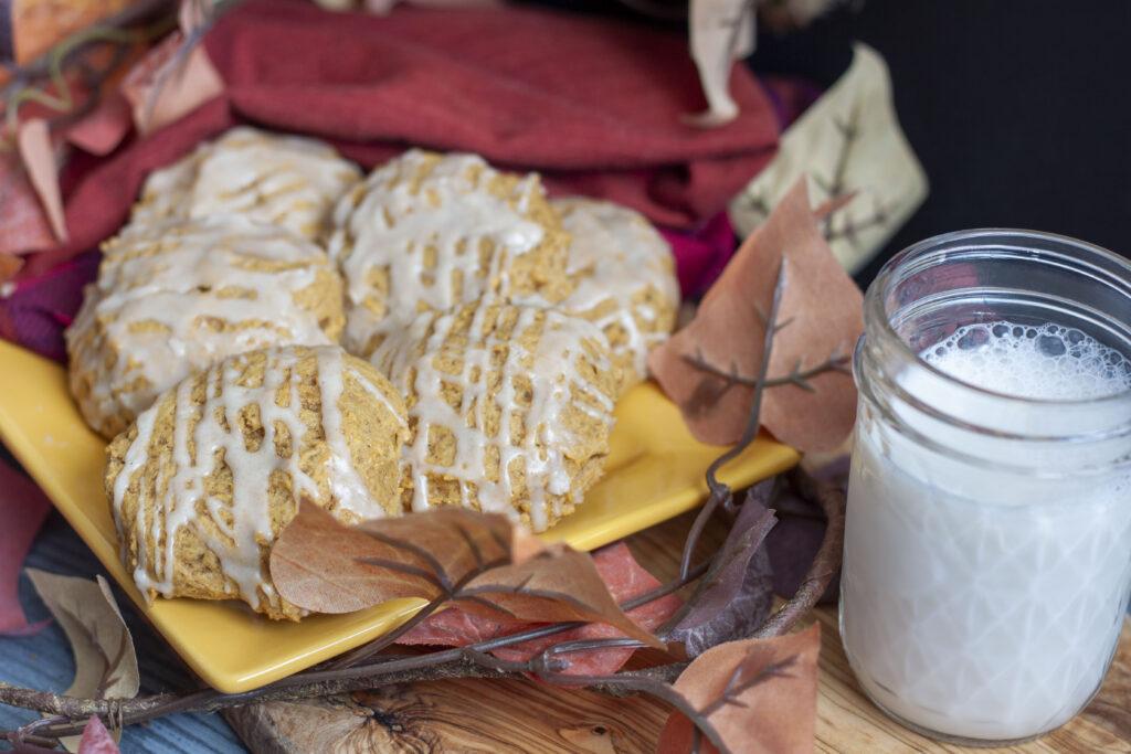 vegan pumpkin cookies with vegan milk