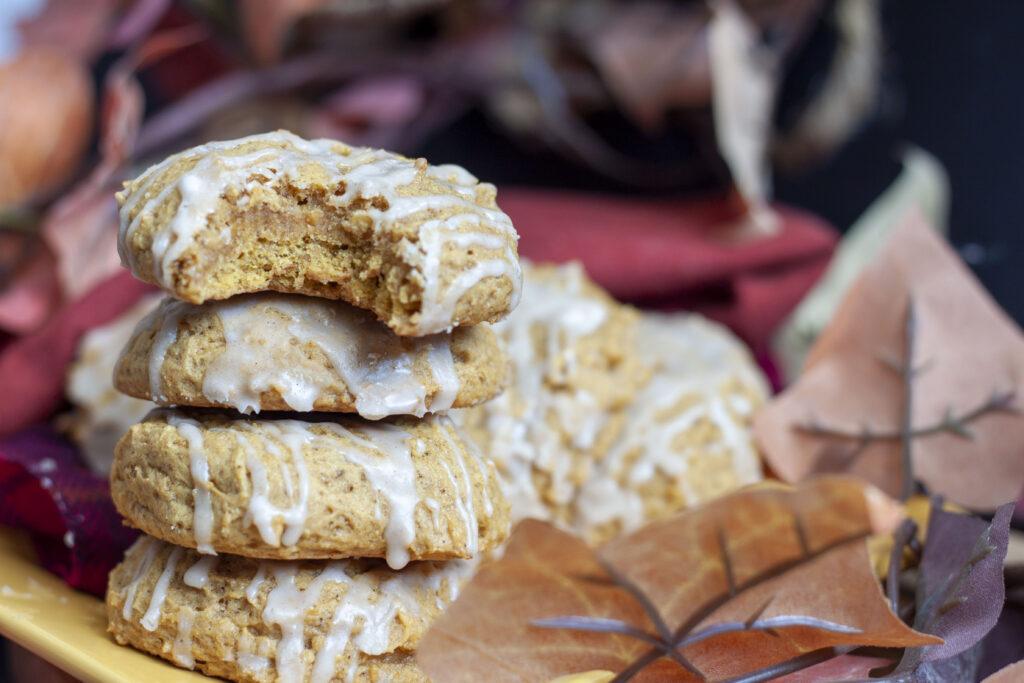 stacked vegan pumpkin cookies